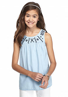 Red Camel® Denim Embroidered Tank Top Girls 7-16
