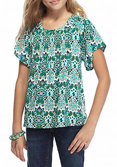 Red Camel Printed Smocked Angel Sleeve Top Girls 7-16