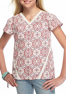 Red Camel Crochet Printed High Low Top Girls 7-16