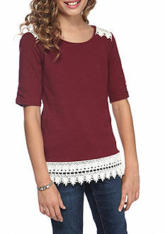 Red Camel® Elbow Sleeve Crotchet Top Girls 7-16