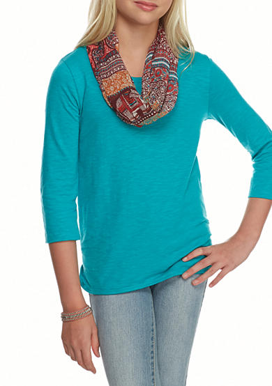 Red Camel® Crochet Back Solid Top with Printed Scarf Girls 7-16