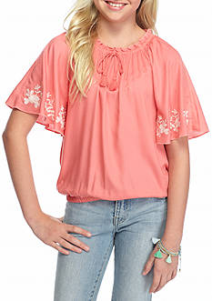 Red Camel Embroidered Angel Sleeve Top Girls 7-16