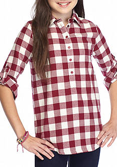 Red Camel® Checkered Button Front Top Girls 7-16