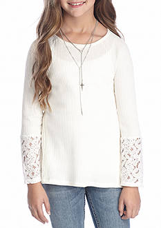 Red Camel Waffle Lace Top Girls 7-16