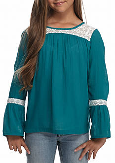 Red Camel® Solid Lace Trim Top Girls 7-16