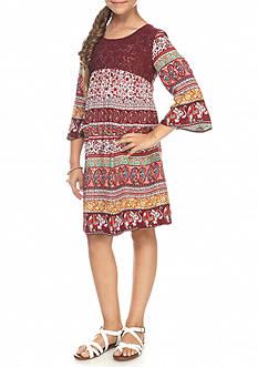 Red Camel Bell Sleeve Crochet Dress Girls 7-16