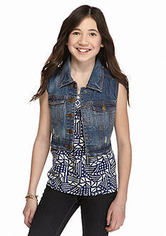Red Camel® Crochet Back Denim Vest Girls 7-16