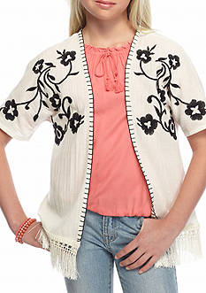 Red Camel Embroidered Woven Fringe Cozy Girls 7-16