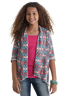 Red Camel Butterfly Printed Duster Cozy Girls 7-16