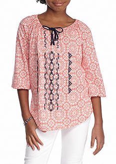 Red Camel Medallion Peasant Top Girls 7-16