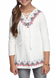 Red Camel Knit Embroidered Tie Top Girls 7-16