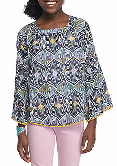 Red Camel Woven Peasant Top Girls 7-16