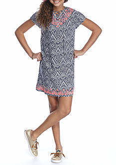 Red Camel Printed Lace Up Dress Girls 7-16