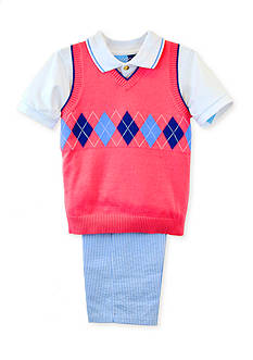 Good Lad 3-Piece Sweater Vest, Short Sleeve Shirt, and Seersucker Pants Set Boys 4-7