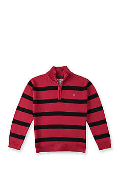 IZOD Red Striped Quarter Zip Sweater Boys 4-7