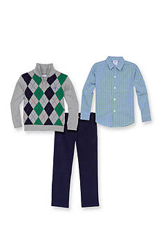 IZOD Blue and Green Argyle Sweater Set Boys 4-7