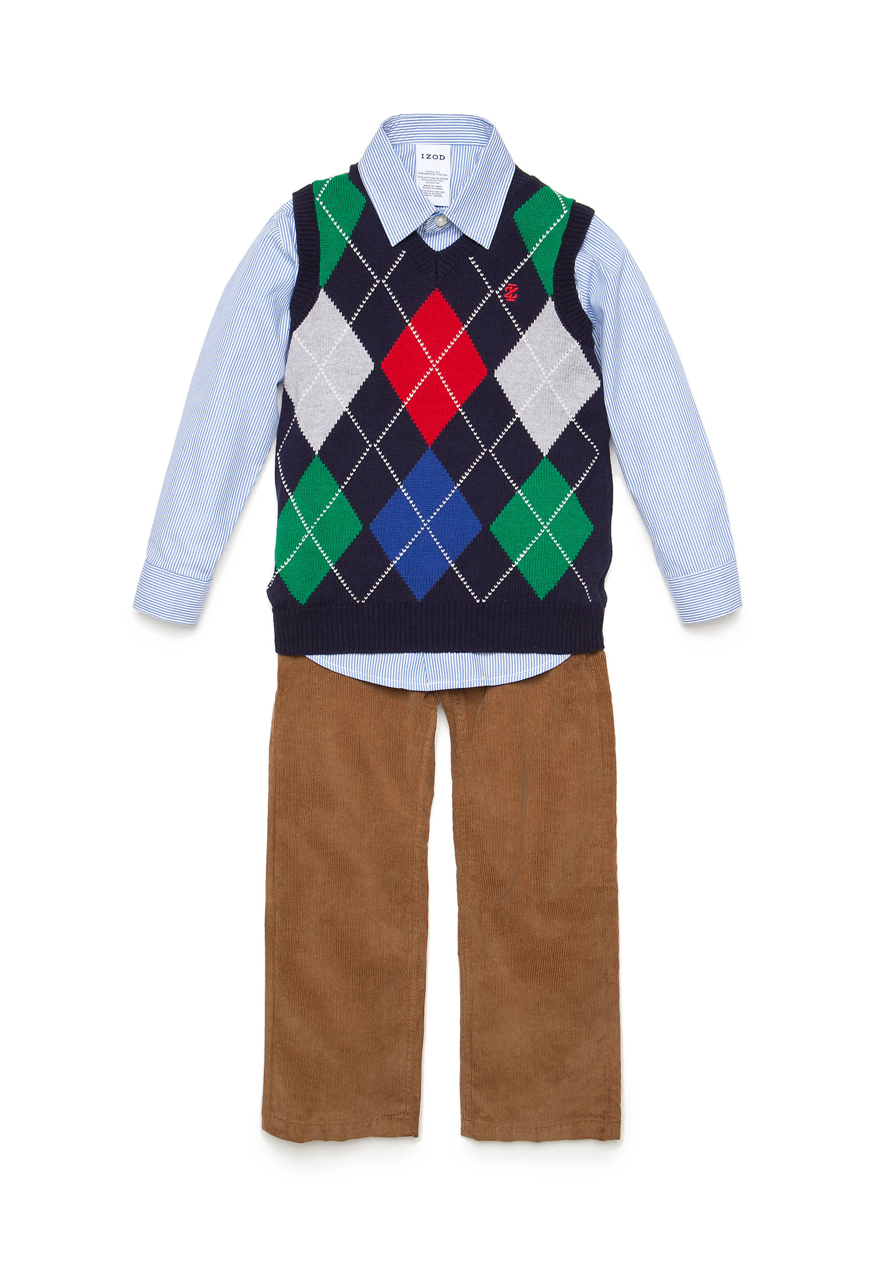 IZOD 3-Piece Argyle Sweater Vest, Striped Woven Shirt and Corduroy ...