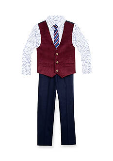 IZOD 4-Piece Corduroy Vest Set with Tie Boys 4-7