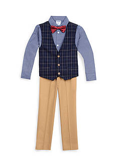 IZOD 4-Piece Plaid Vest Set Boys 4-7