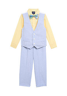 IZOD 4-Piece Seersucker Vest Set Boys 4-7