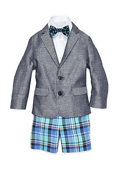 IZOD 4-Piece Chambray Jacket and Plaid Short Set Boys 4-7