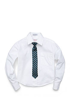 IZOD Basic Button Front Shirt and Tie Set Boys 4-7