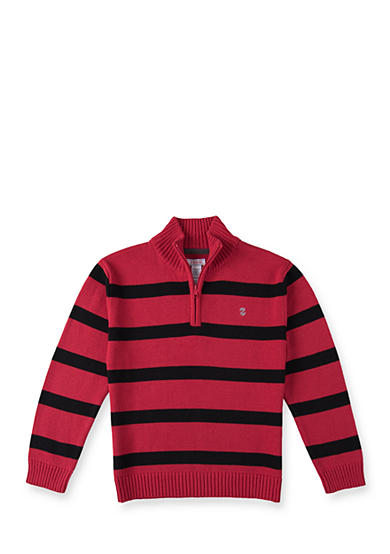 IZOD Red and Black Stripe 1/4 Zip Sweater Boys 8-20
