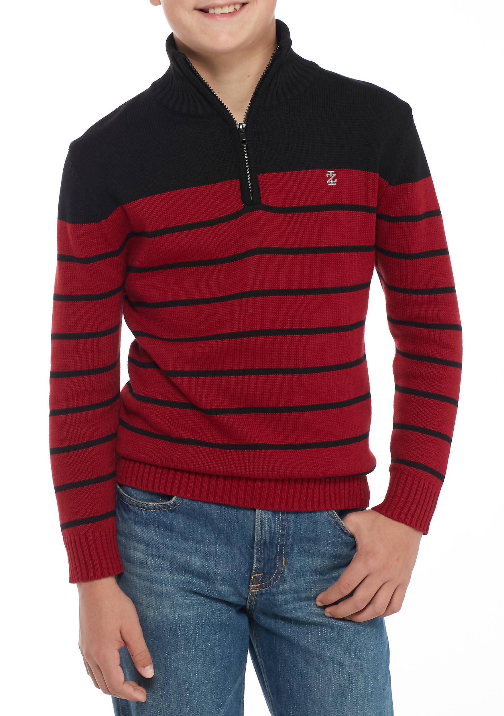 IZOD Stripe Quarter Zip Sweater Boys 8-20 | belk
