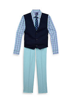 IZOD 4-Piece Chambray Vest Set Boys 8-20