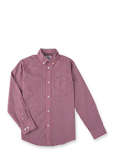 IZOD Red and Black Check Woven Shirt Boys 4-20