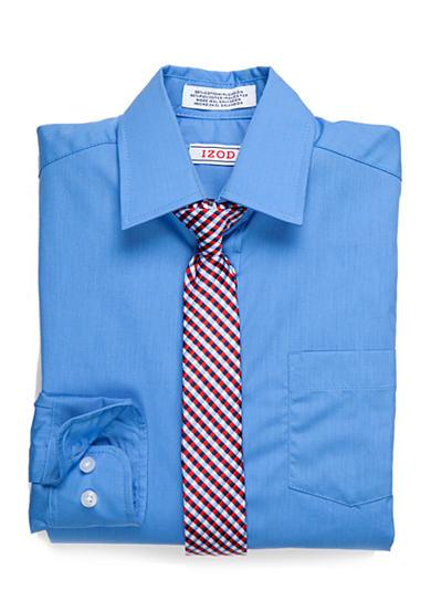 Izod Basic Button Front Shirt With Tie Set Boys 8 20 Belk