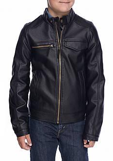 London Fog Leather Moto Jacket Boys 8-20