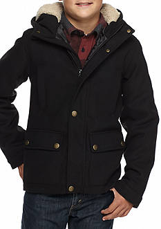 London Fog Faux Fur Jacket with Hood Boys 8-20