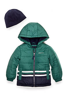 London Fog Stripe Puffer Jacket Boys 4-7