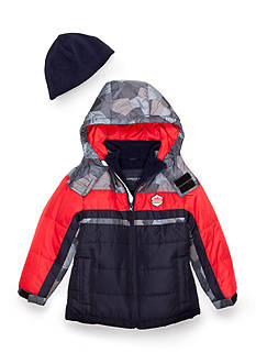 London Fog Color Block Bubble Jacket & Beanie Boys 4-7