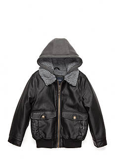 London Fog Faux Leather Bomber Jacket Boys 4-7