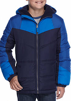 Pacific Trail Heavy Weight Color Block Puffer Jacket With Nordic Fleece Lining Boys 8-20