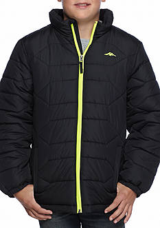 Pacific Trail Boys' Heavy Weight Puffer Jacket with Performance Fleece Hood and Contrast Zipper