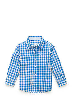 J. Khaki Long Sleeve Plaid Woven Shirt Boys 4-7