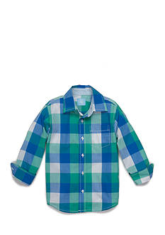 J. Khaki Long Sleeve Plaid Woven Shirt Boys 4-7