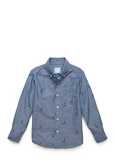 J. Khaki Printed Chambray Button Up Boys 4-7
