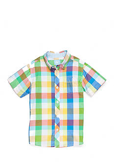 J. Khaki Plaid Woven Button Down Shirt Boys 4-7
