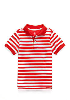 J. Khaki Short Sleeve Stripe Pique Polo Boys 4-7