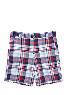 J. Khaki Flat-Front Plaid Short Boys 4-7