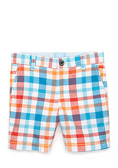 J. Khaki Flat-Front Plaid Short Boys 4-7