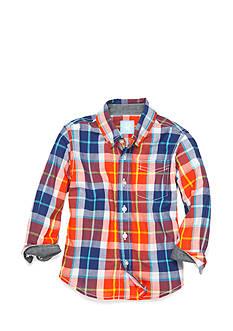 J. Khaki Plaid Woven Shirt Boys 4-7