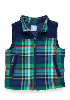 J. Khaki Flannel Puffer Vest Boys 4-7