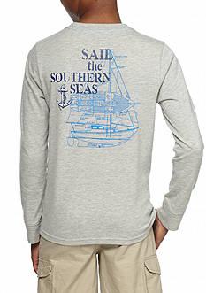 J. Khaki Sailboat Crew Long Sleeve Shirt Boys 8-20