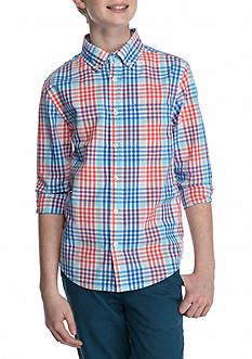 J. Khaki Plaid Woven Button Down Shirt Boys 8-20