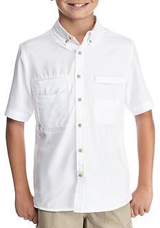 J. Khaki Woven Button-Front Fishing Shirt Boys 8-20